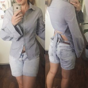 NWOT Topshop Button Up Open Back Bell Sleeves